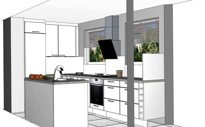 Visualisierung Einbauküche - Mietwohnung - Stuttgart Nord
